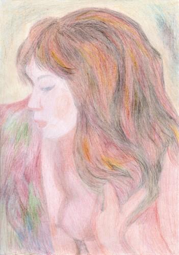 peinture, pastel, loisirs, société, fille