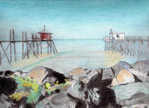 loisirs,dessins,pastels,peintures,couleurs,crayons de couleurs,mer,charente maritime